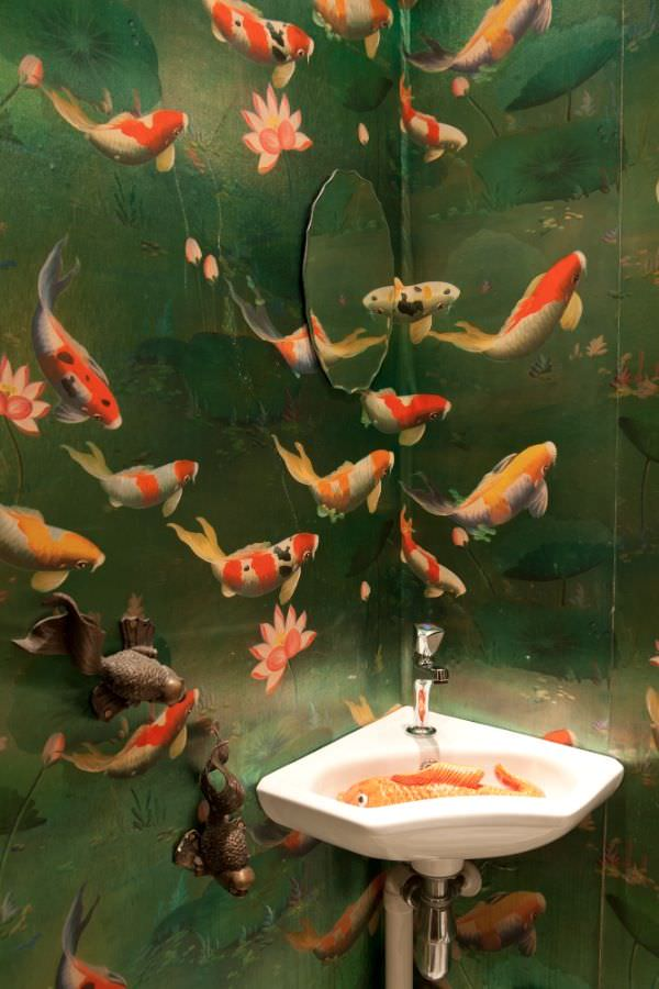 Fish wallpaper for bathroom