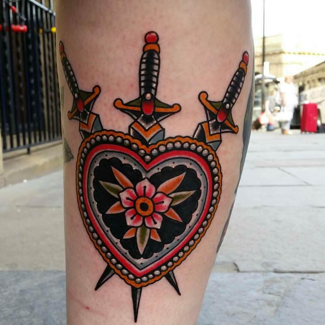 American Traditional Rose Tattoo Design