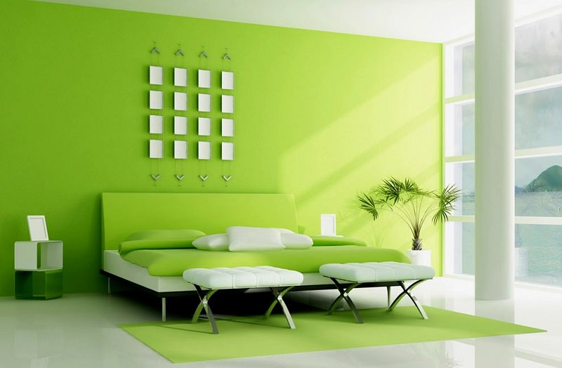 Green room interior design decorating ideas design trends for Bright green bedroom ideas