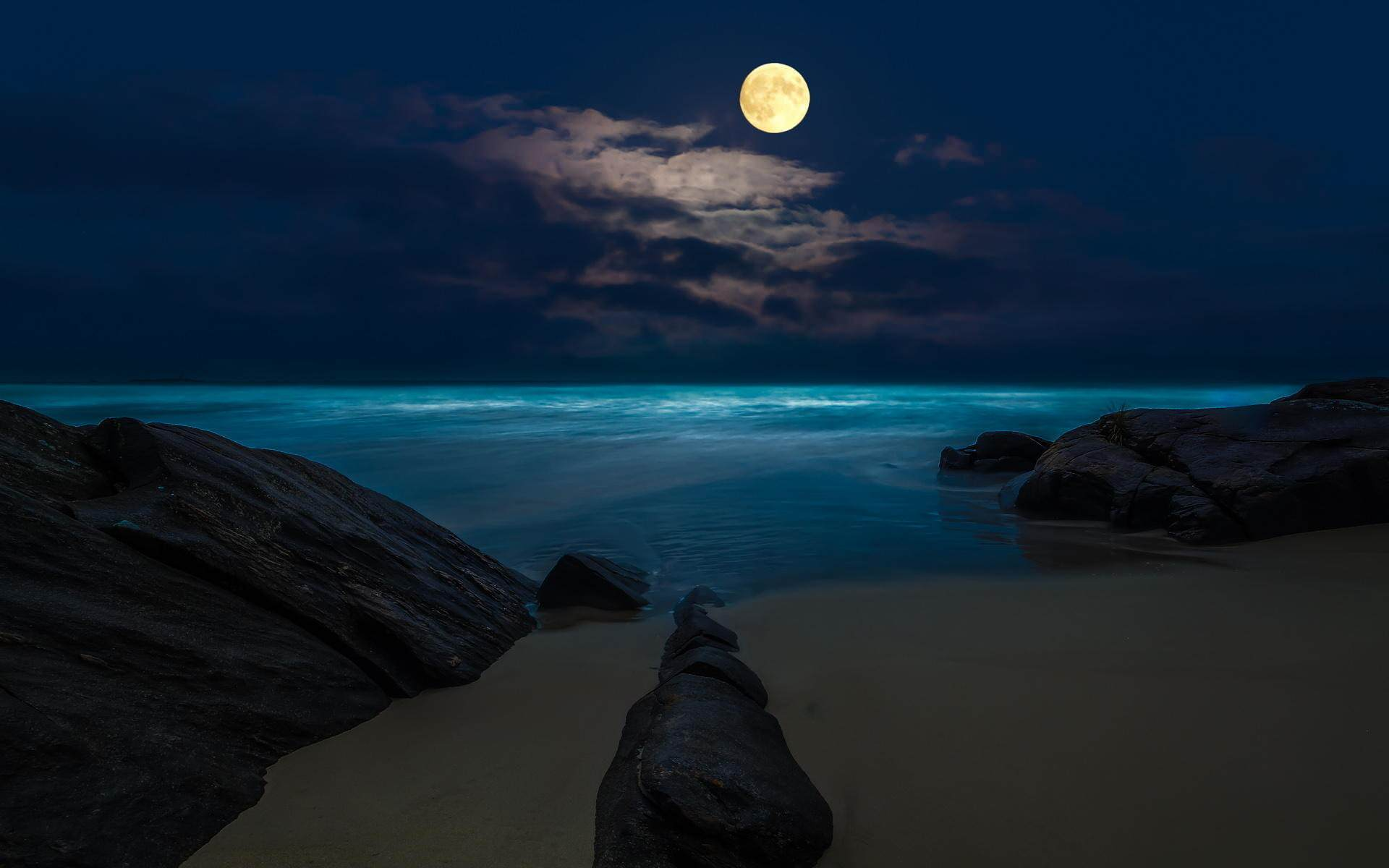 Tropical Waves Sky Mountains Clouds Island Moon Night: 27+ Mesmerizing Moon Backgrounds