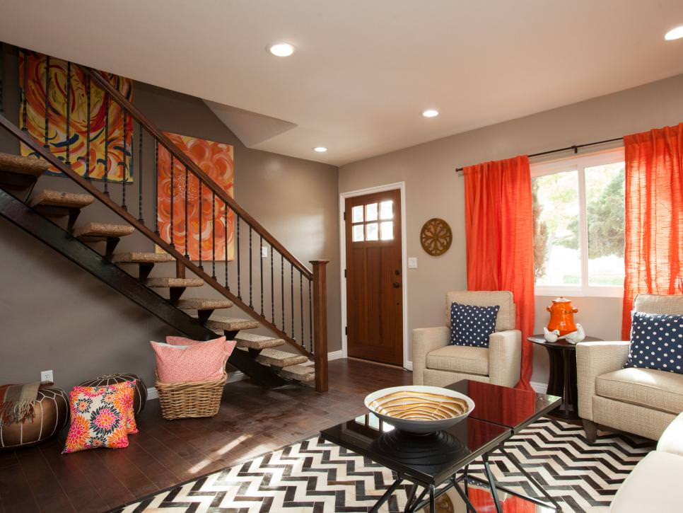 20 living room curtain designs decorating ideas design - Orange curtains living room ...