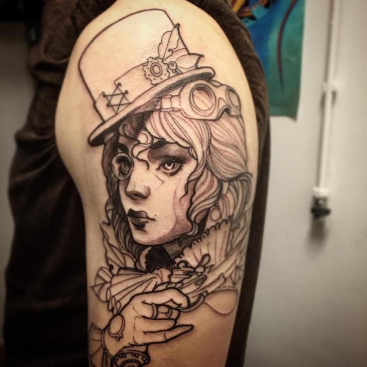 Retro Style With Skull: 26+ Steampunk Tattoo Designs, Ideas