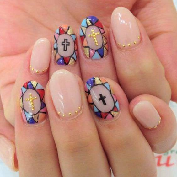 Stained Glass Nail Art: 29+ Cross Nail Art Designs, Ideas
