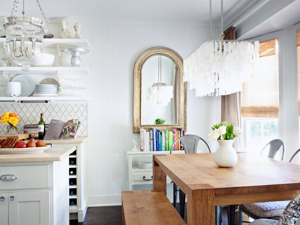 Kitchen With White Wood Wall Texture