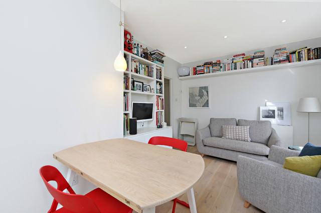 Scandinavian living room top book shelve