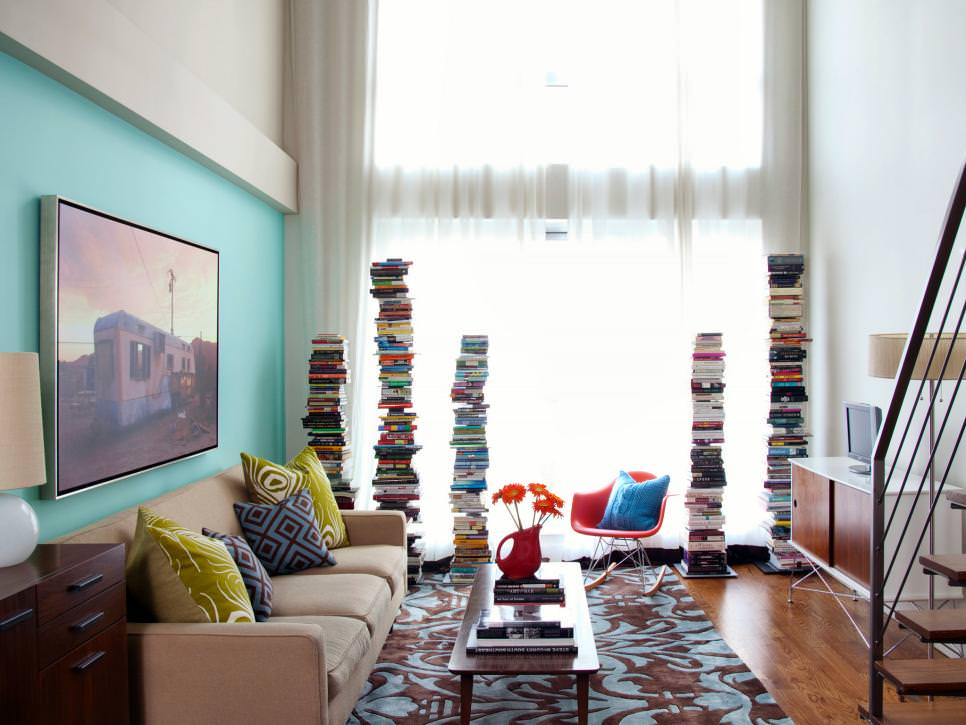 Galerry design ideas for a narrow living room