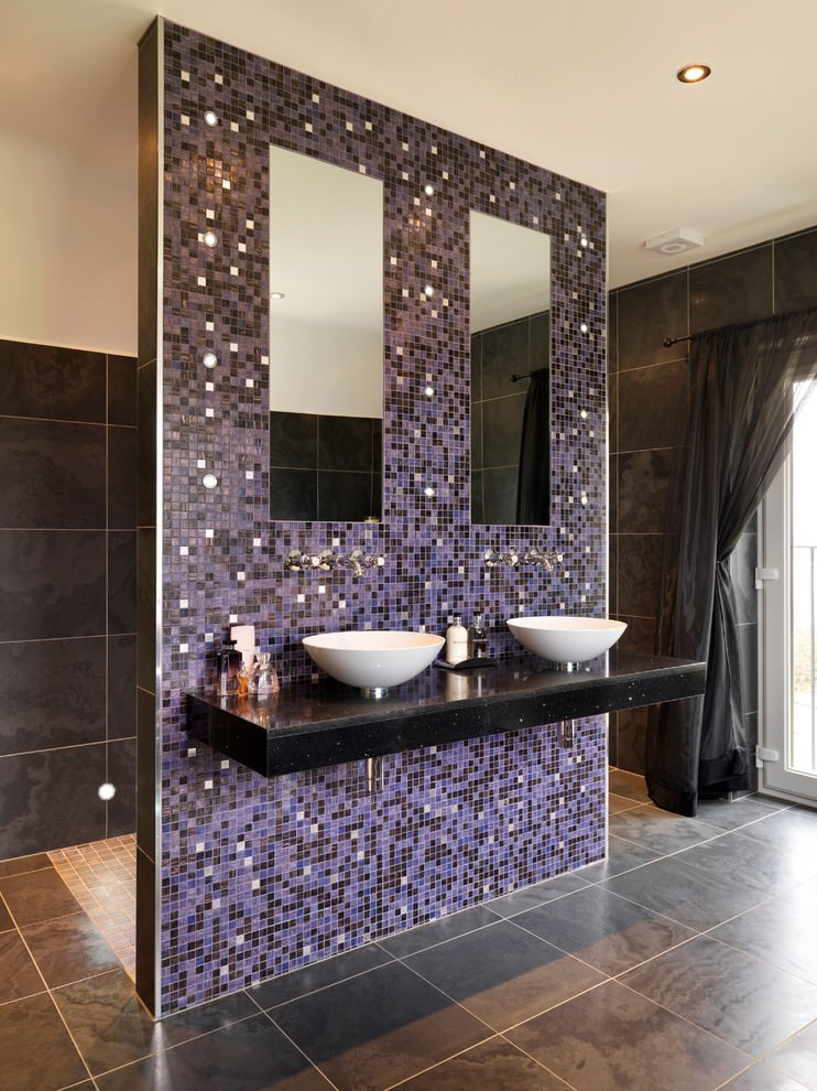 23 purple bathroom designs decorating ideas design trends for Purple bathroom tiles ideas