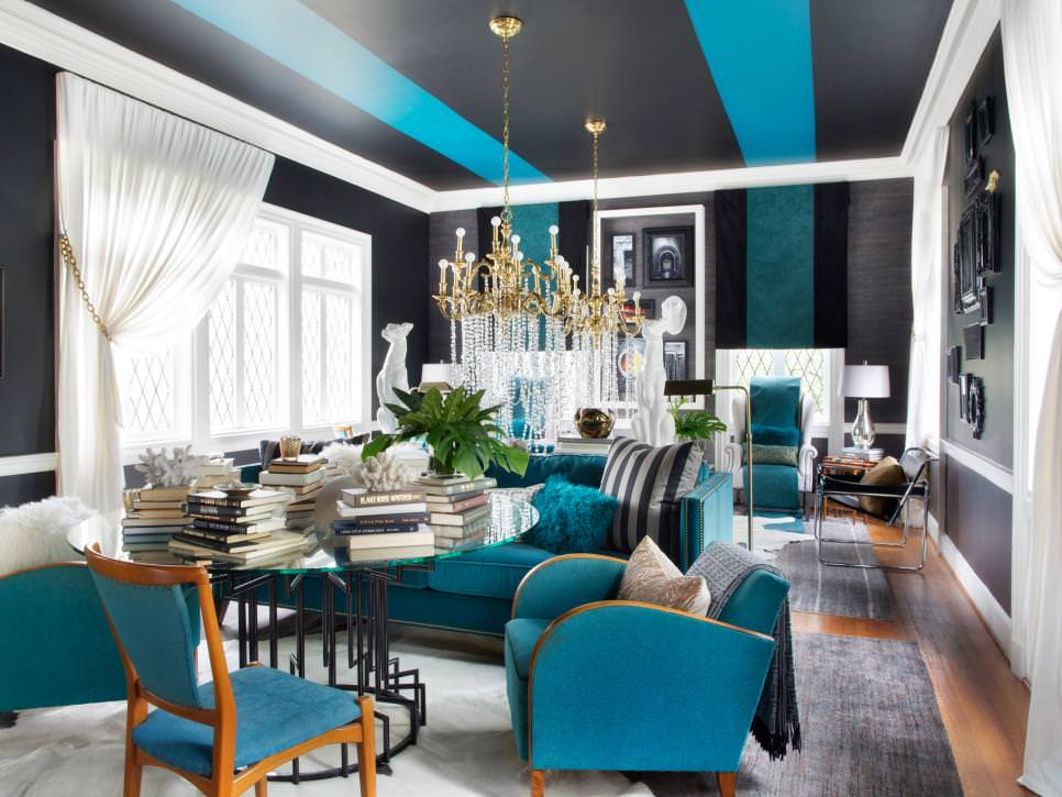 22 teal living room designs decorating ideas design trends for Interior design ideas teal living room