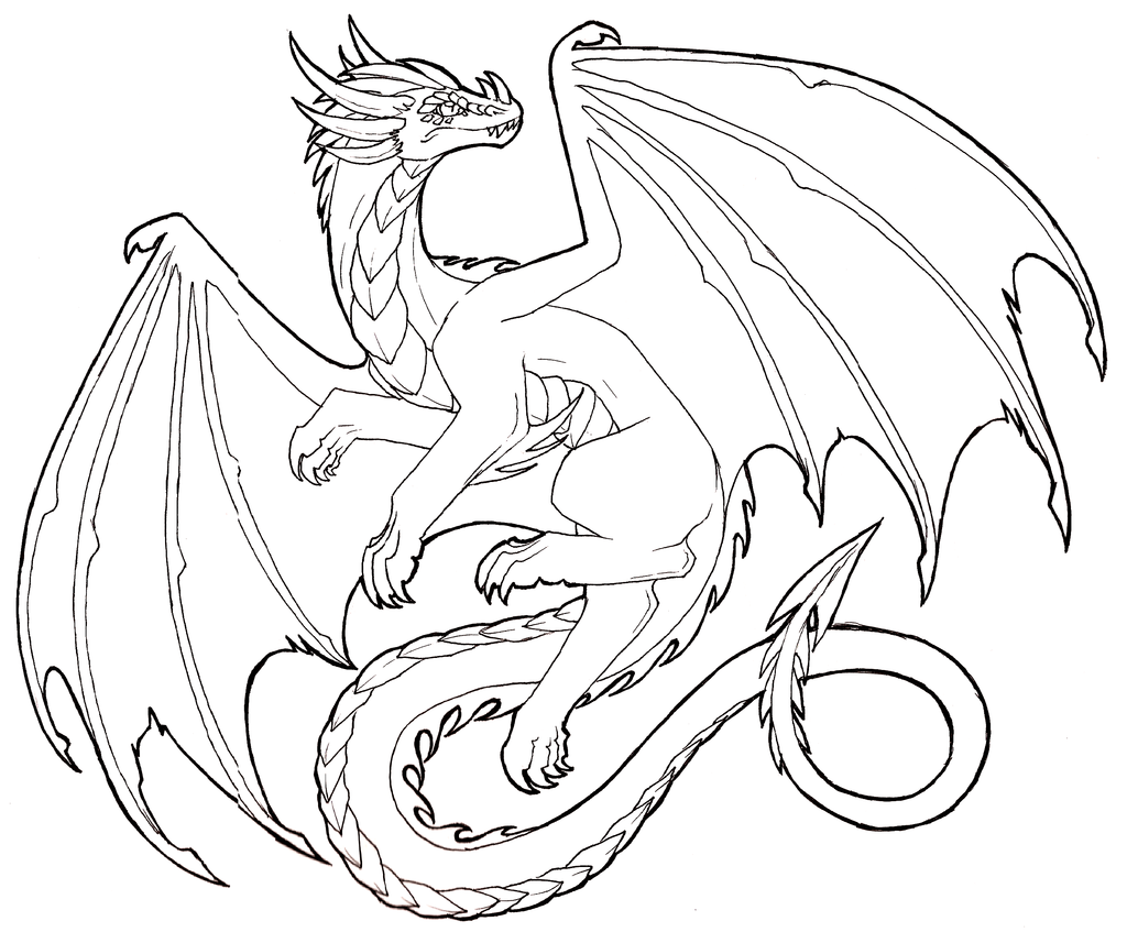 Line Art Design Trend : Realistic dragon drawings design trends