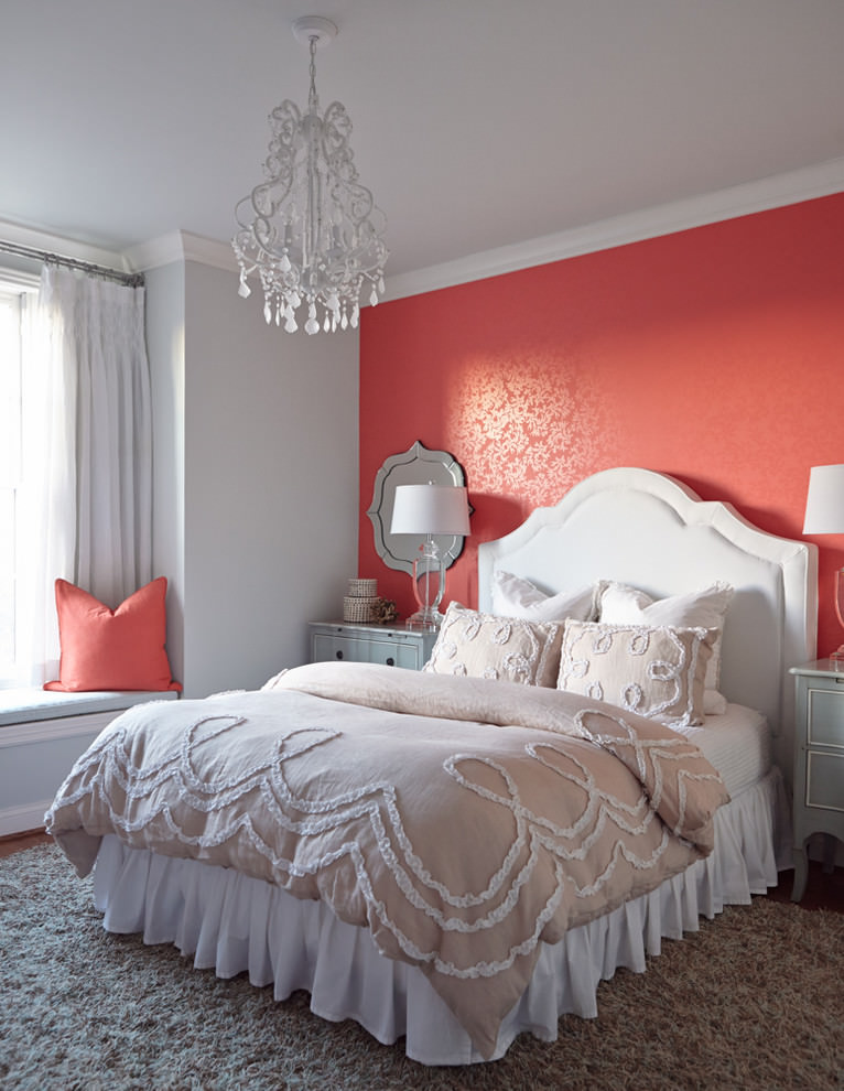 amazing red accent wall paint design in bedroom
