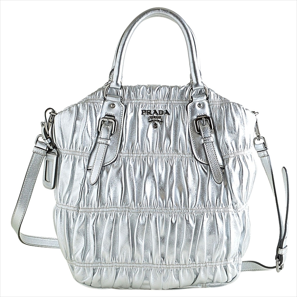 prada silver handbag