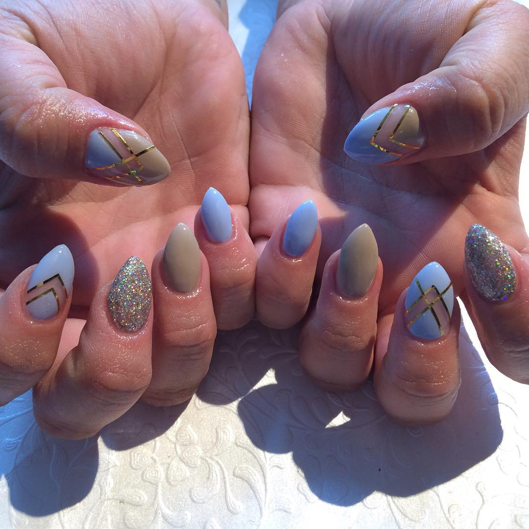 Pink tip acrylic nails