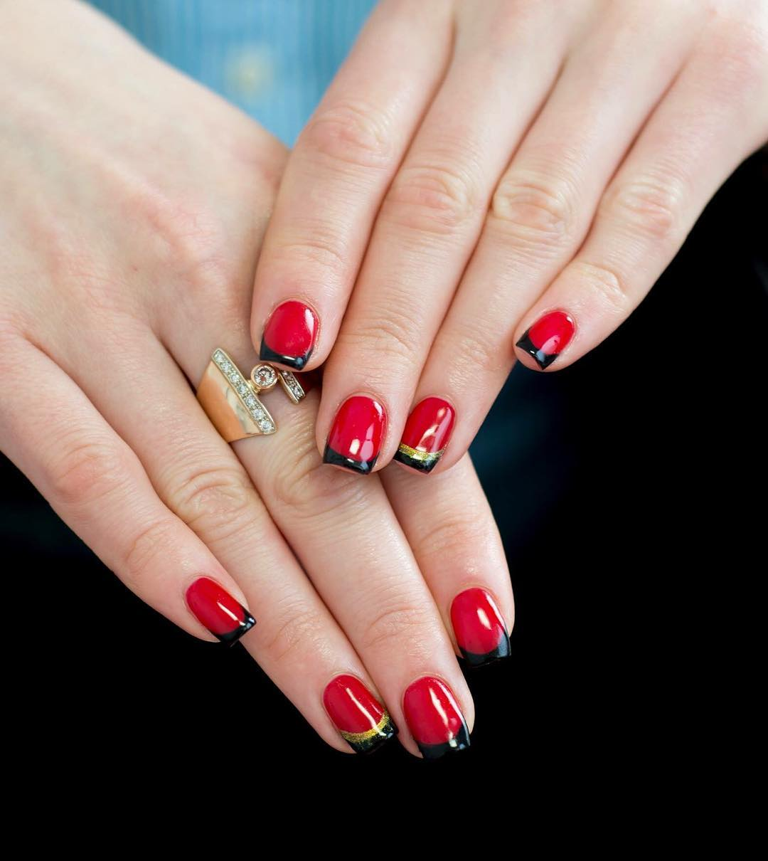 Nails Design Ideas pink nail design with glitter Red And Black Nail Design Ideas
