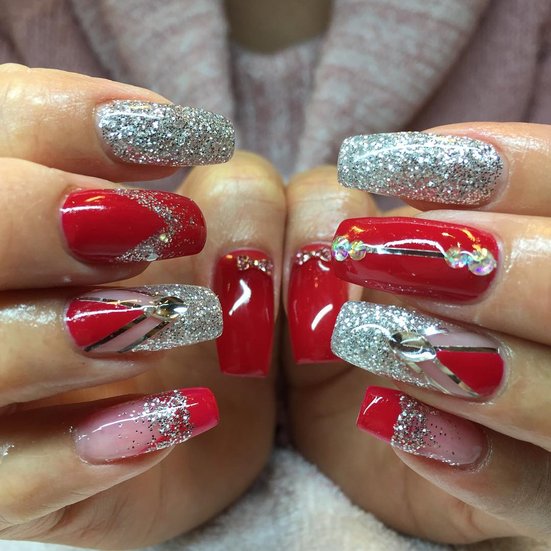 Long Nail Art: 26+ Red And Silver Glitter Nail Art Designs , Ideas