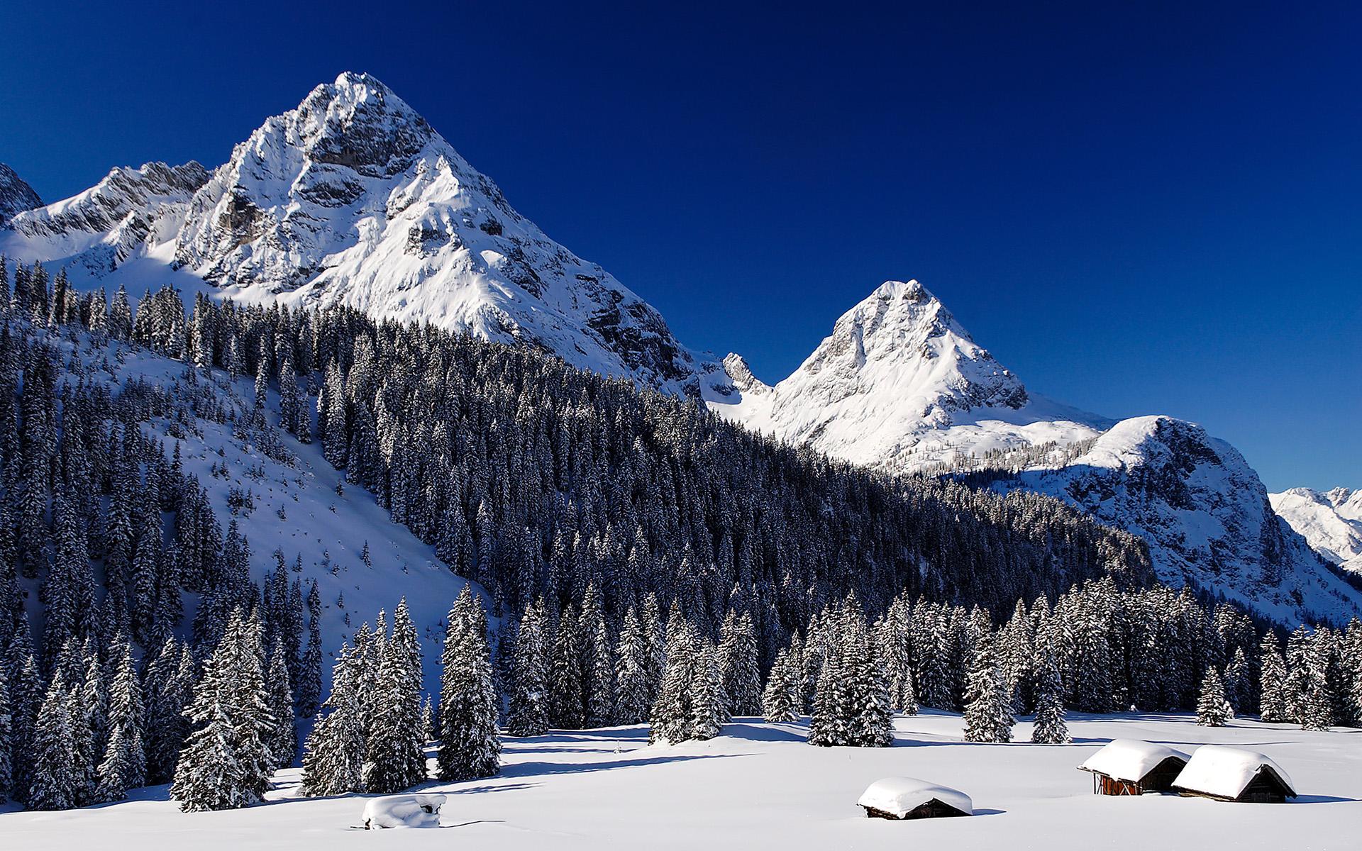 природа зима снег горы скалы деревья  № 2781205  скачать