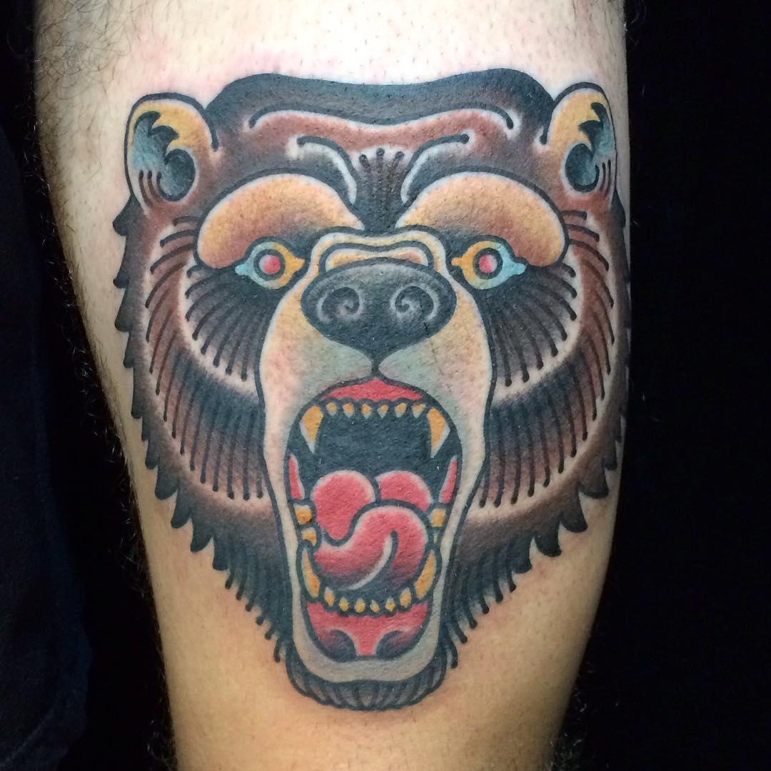 Traditional bear head tattoo - photo#7