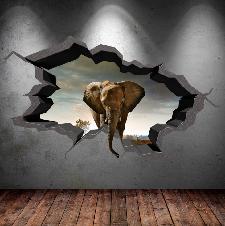 3d elephant cracked wall decal