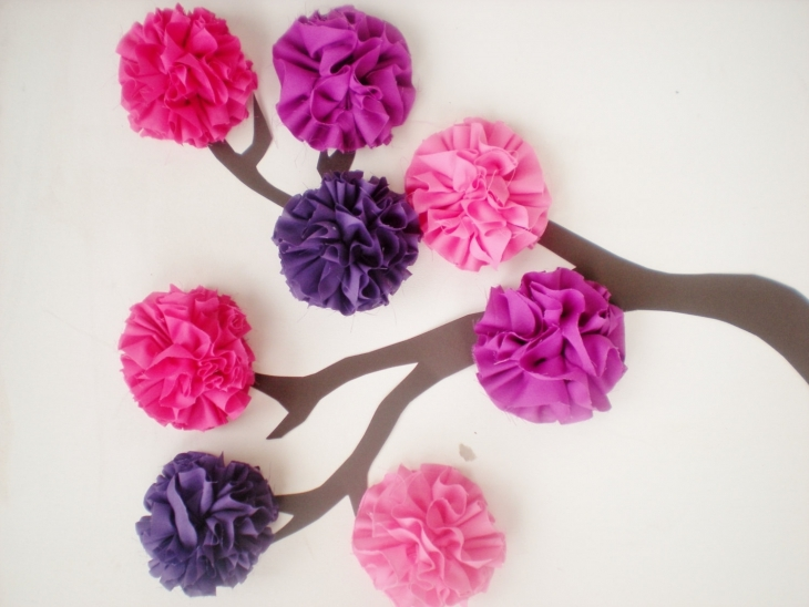 3d fabric pom pom flower