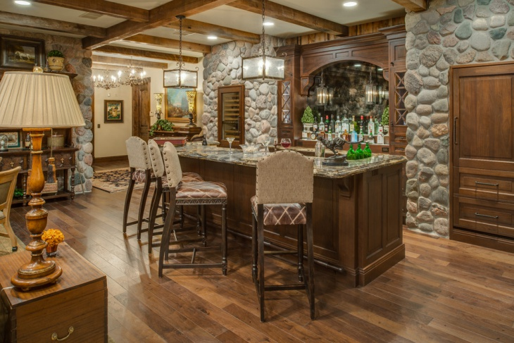 Indoor stone home bar idea