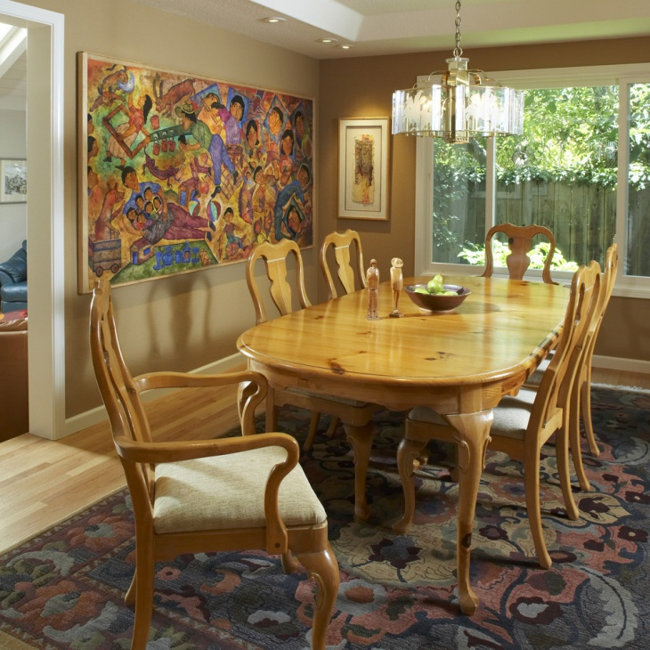 Oval Wooden Dining Table and Chairs