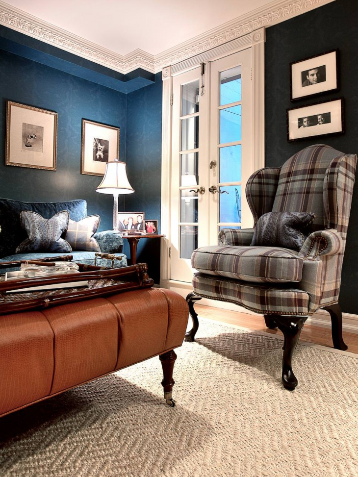 stylish blue living room decor