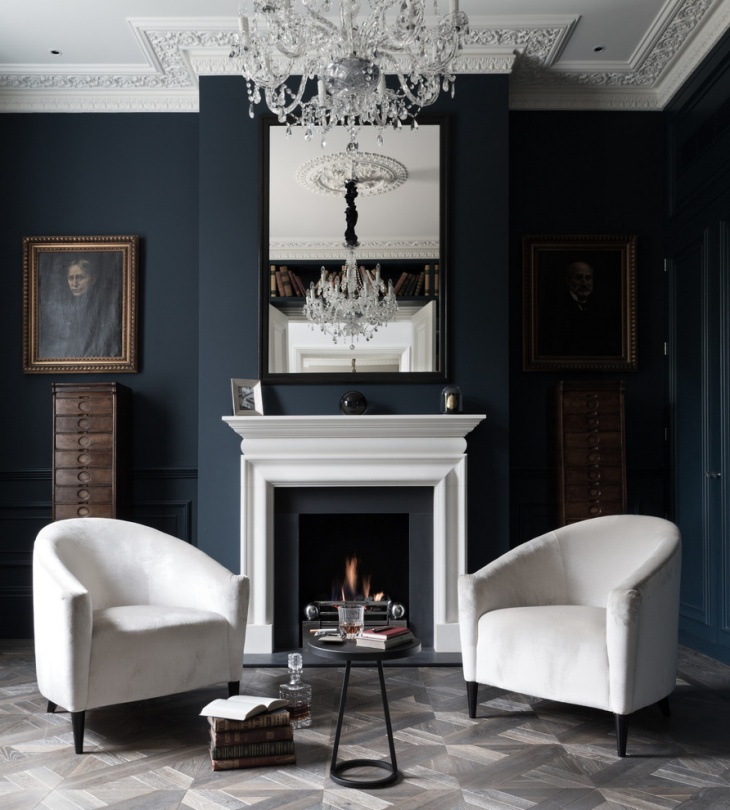 Dark Blue Living Room Idea