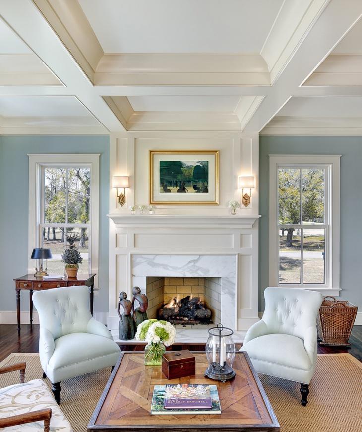Classy Blue Living Room Wall Interiors