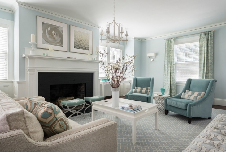 Blue Living Room Decorating Idea