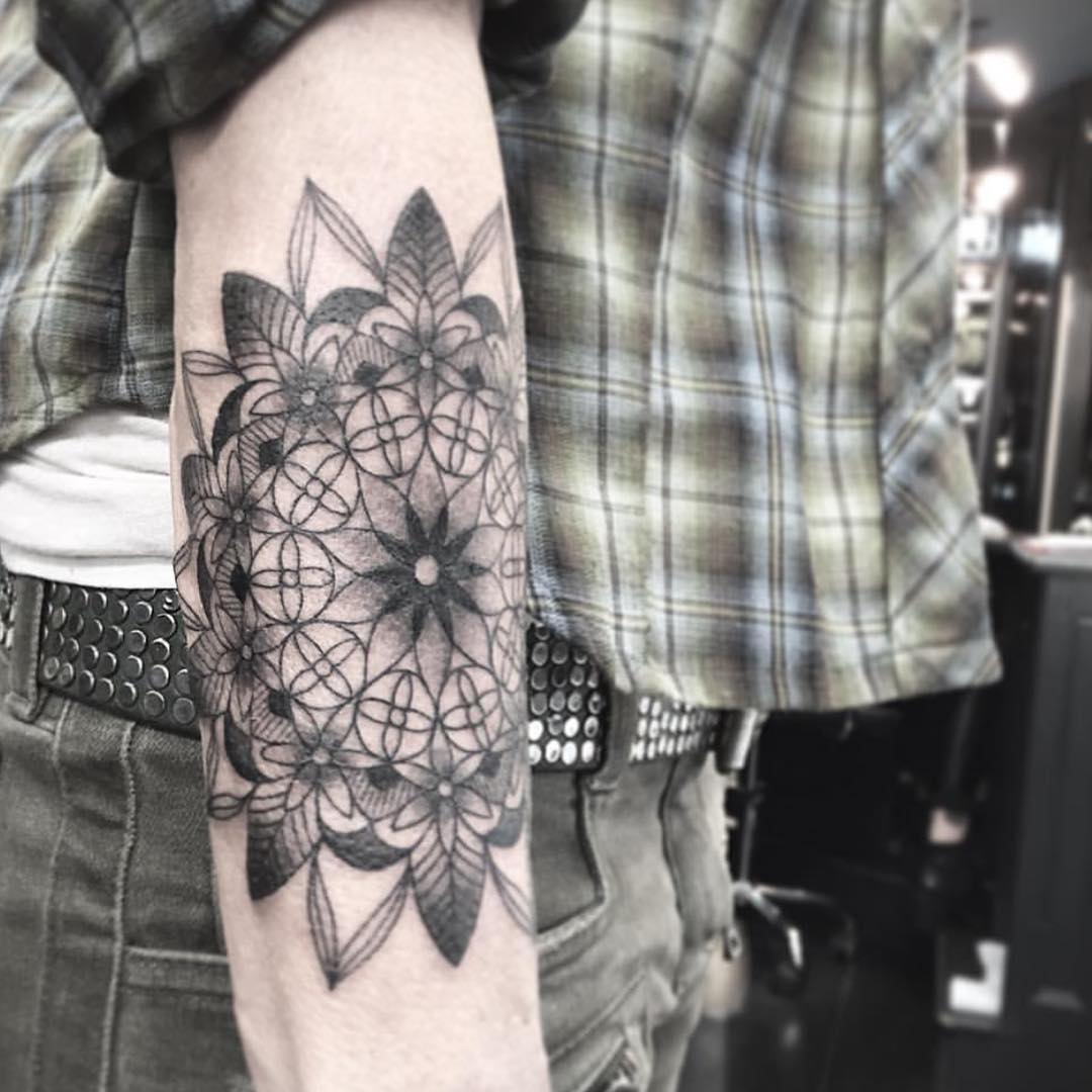 Big Mandala Tattoo on Sleeve