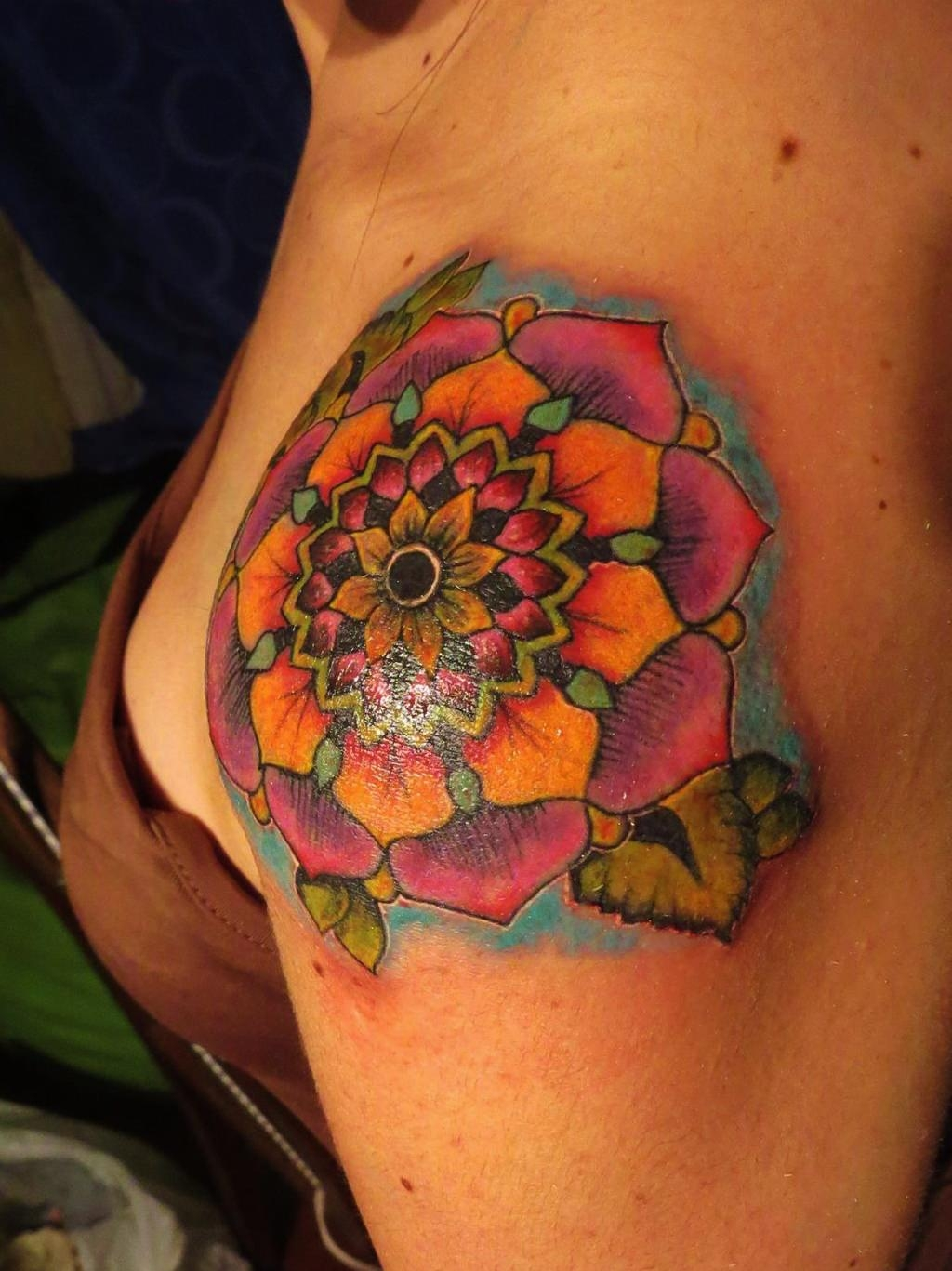 Colored Mandala Tattoo on Shoulder