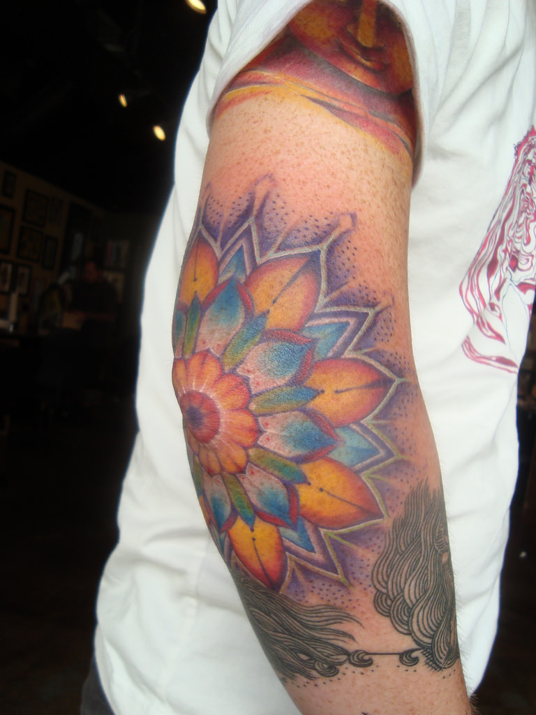 Colorful Mandala Elbow Tattoo