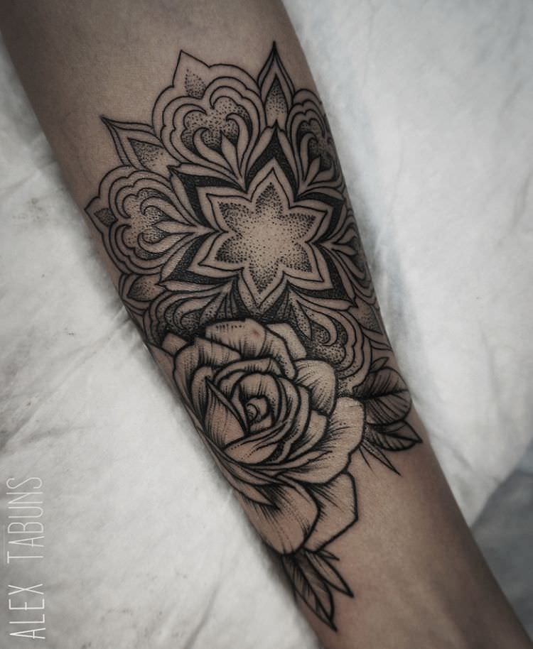 Floral Mandala Tattoo on Wrist