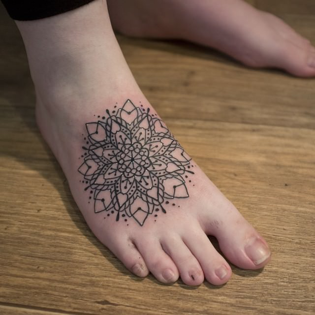 Gorgeous Mandala Tattoo on Feet