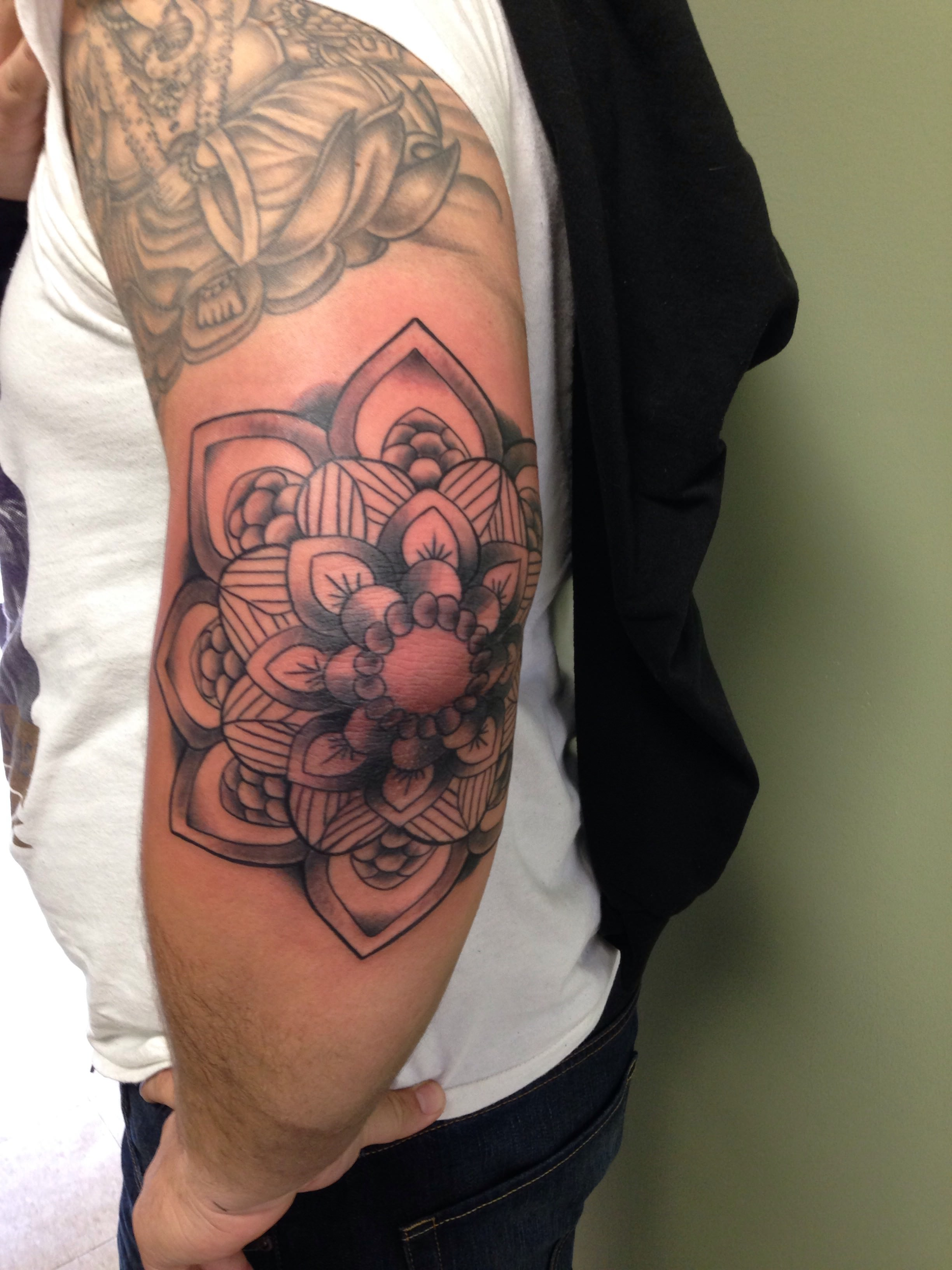 Mandala Flower Tattoo on Elbow