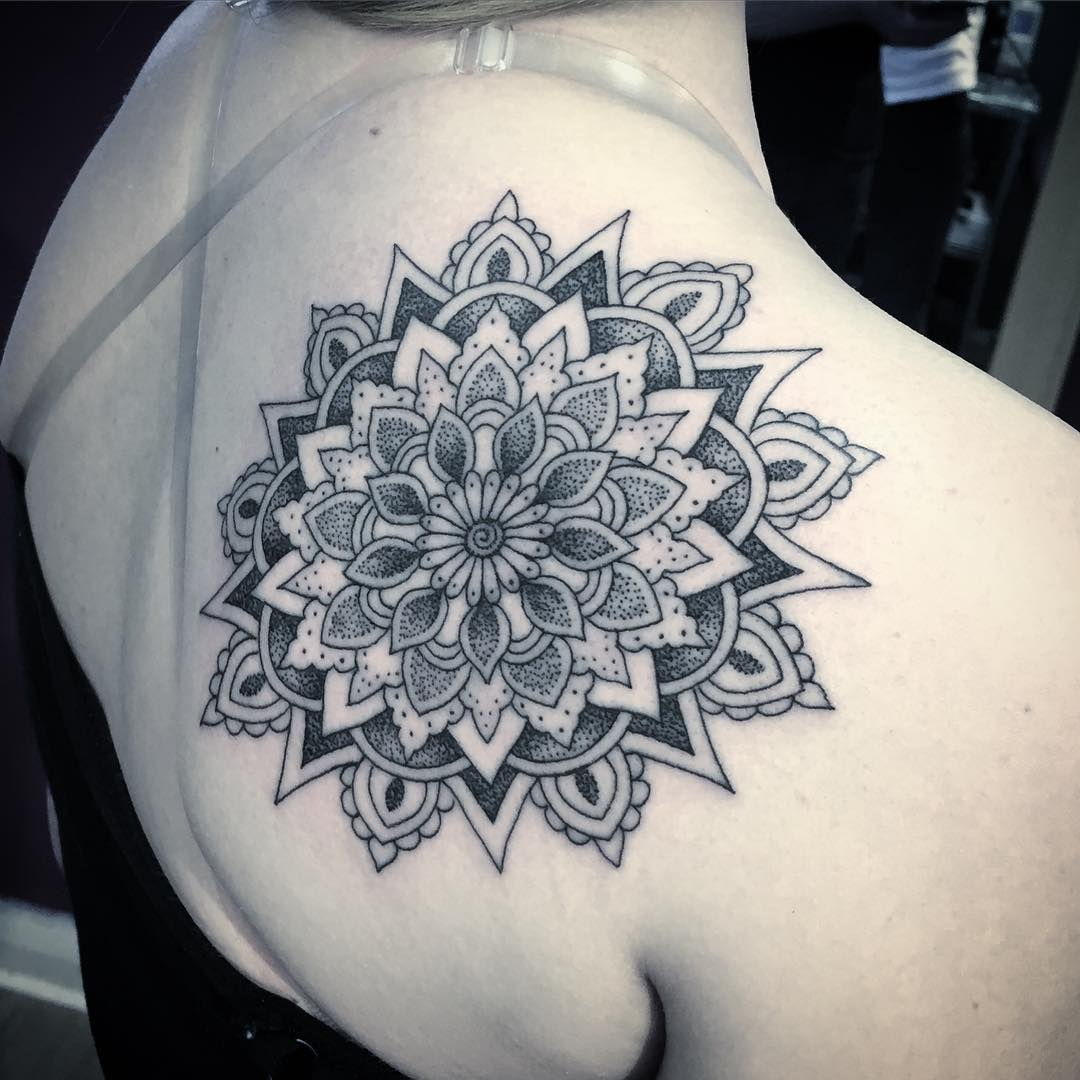 Mandala Flower Tattoo on Shoulder