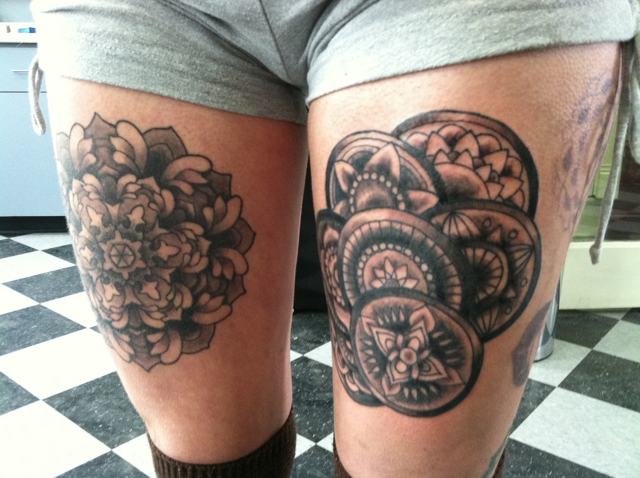 Mandala Pattern Tattoo on Legs