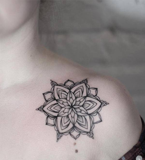Mandala Tattoo on Right Shoulder