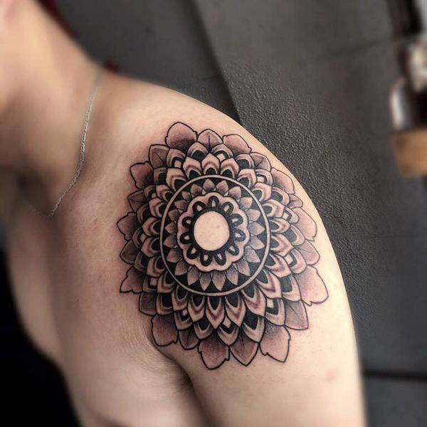 Mandala Tattoo on Shoulder