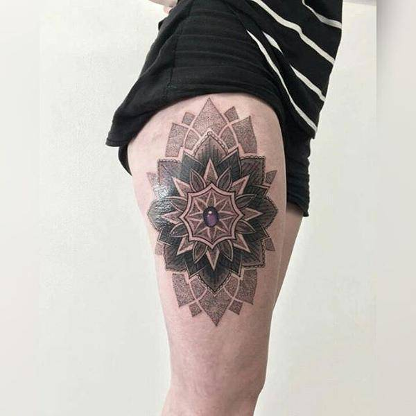 Mandala Tattoo on Thigh