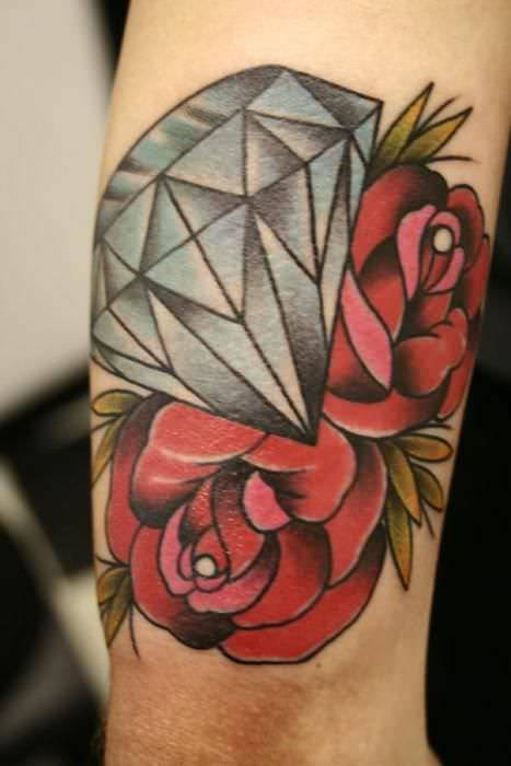 Diamond Tattoo Design With Red Rose