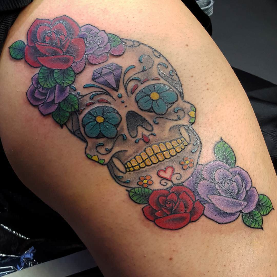 Skull Diamond Tattoo Design With Rose