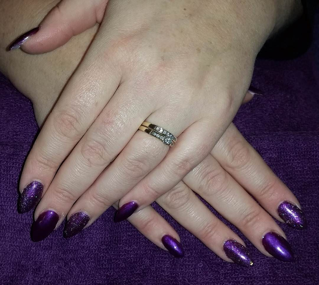 Almond Purple Nail Design, sparkle shine.