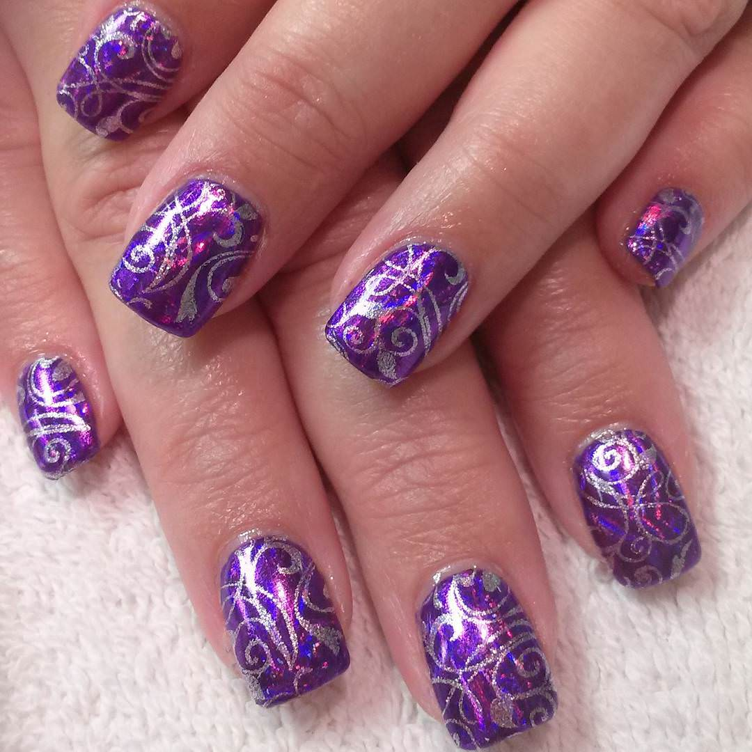 24 purple nail art designs ideas design trends premium psd bling purple nail art prinsesfo Images