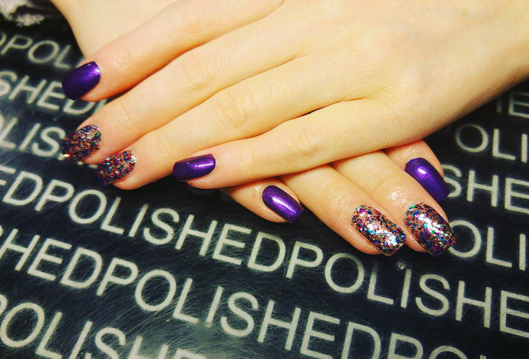 glitter purple nail design