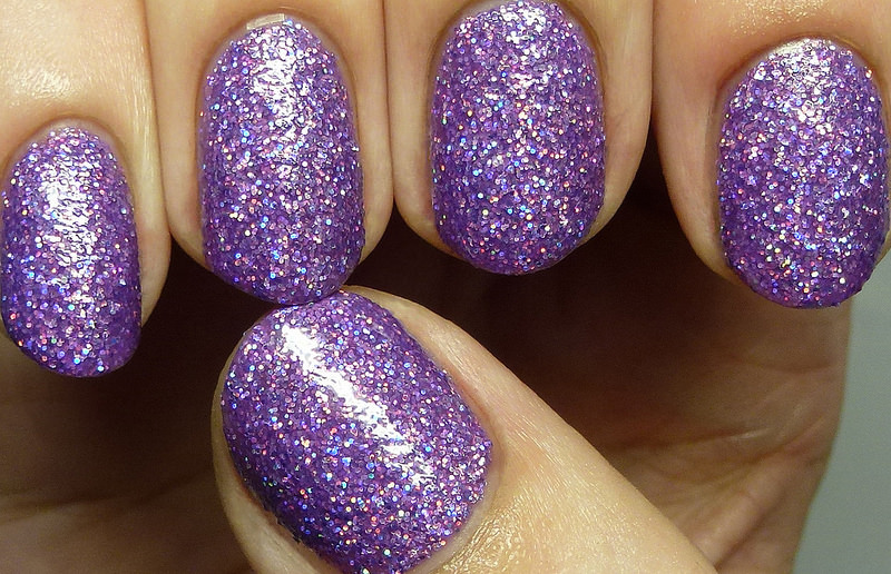 Grace Full Purple Nail Design, glitter shine.