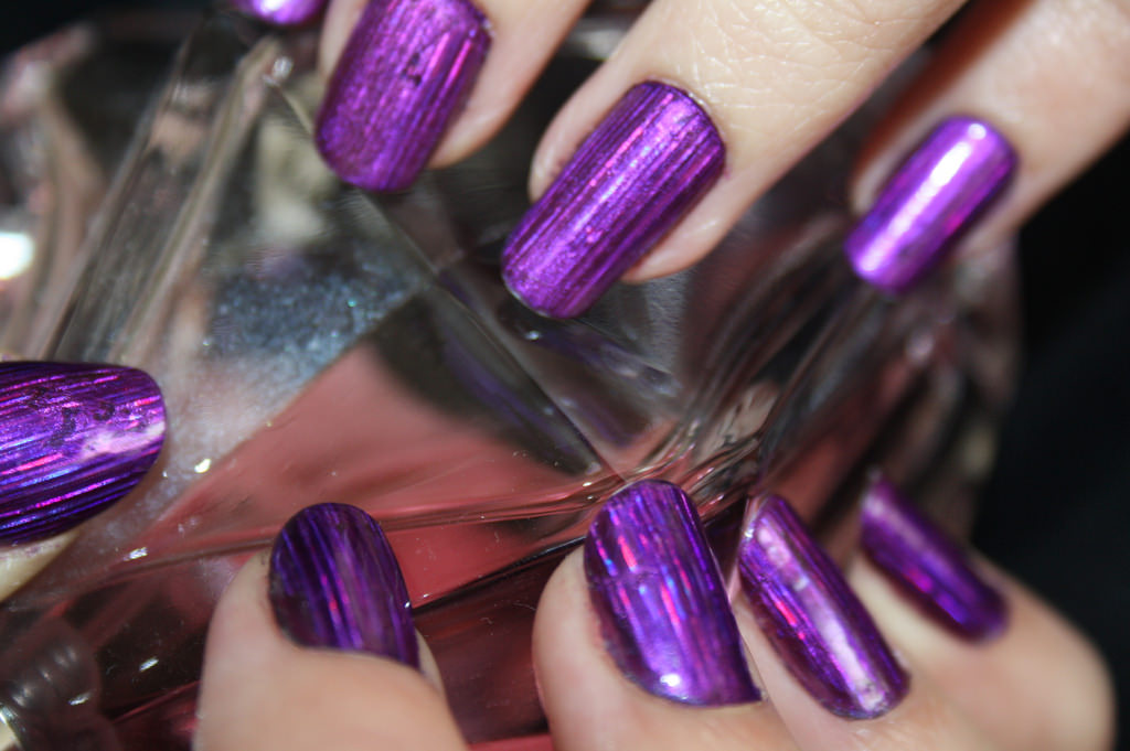holographic purple nail design
