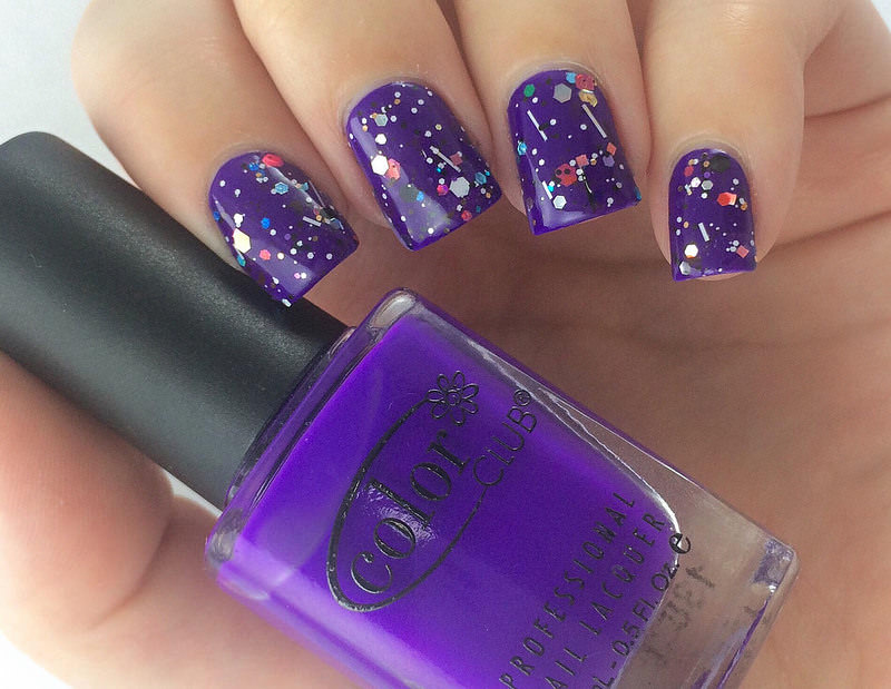 lovely color purple nail design