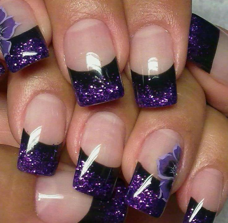 Lovely Flower Purple Nail Design, Flower Purple, black line. - 24+ Purple Nail Art, Designs, Ideas Design Trends - Premium PSD