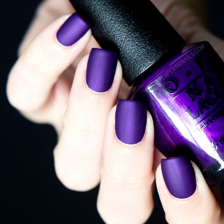 Metallic Coat Purple Nail Design, navy blue.