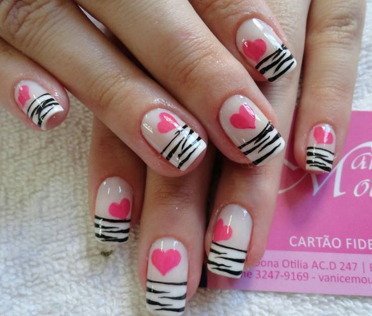 Love Shape Zebra Nail Design